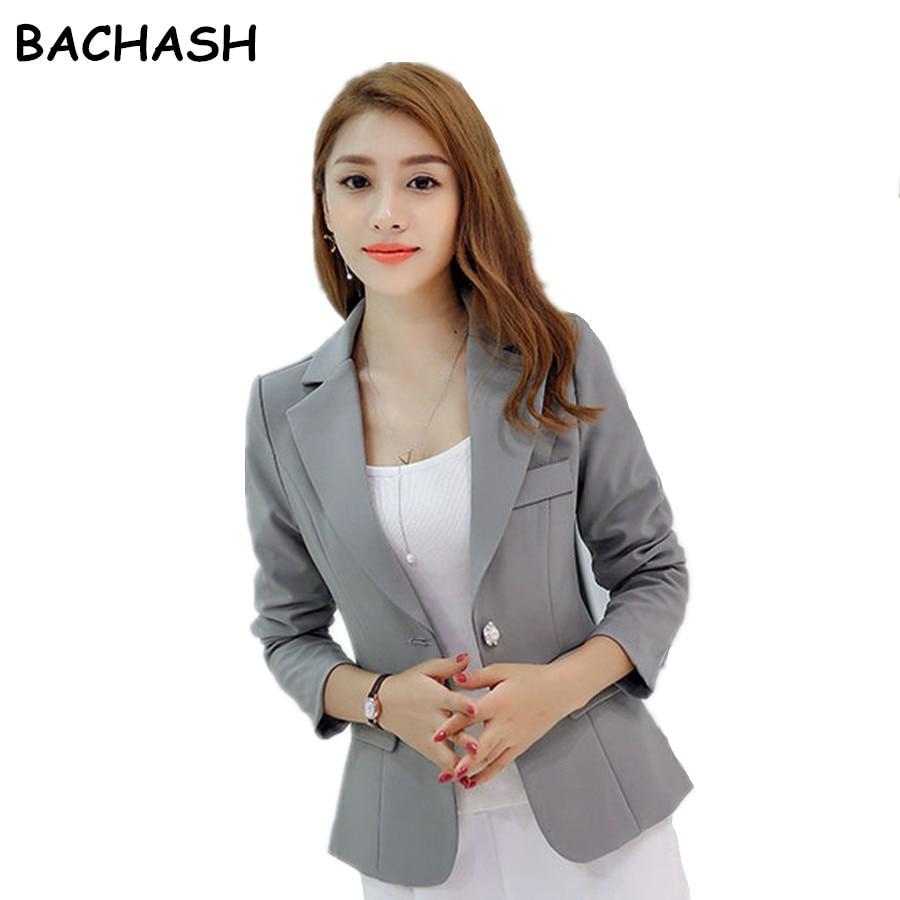 Bachash traje de moda Otoño chaqueta delgada mujer traje de negocios 5  color señora traje de primavera S -XXL Blazers sólido casual 42867b5acf82