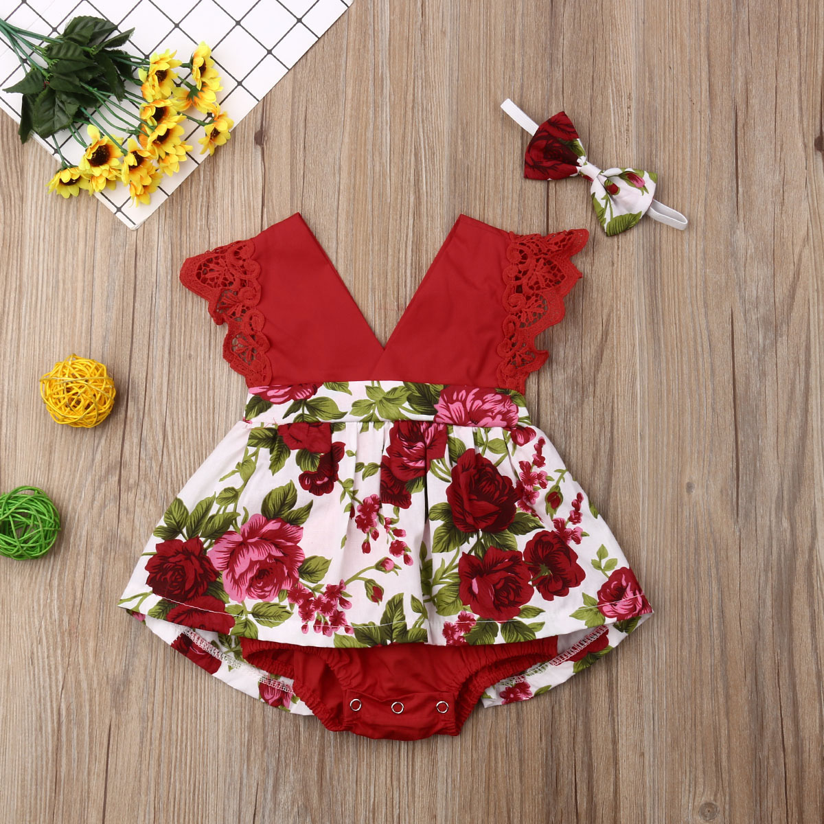 Emmababy Newest Newborn Baby Girl Clothes Lace Fly Sleeve Bodysuit Flower Print Skirt Jumpsuit+Headband 2Pcs Outfits Set