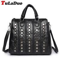 Ladies Genuine Leather Handbags Fashion Rivet Women Tote Bag Black Sheepskin Patchwork Female Shoulder Bag Large
