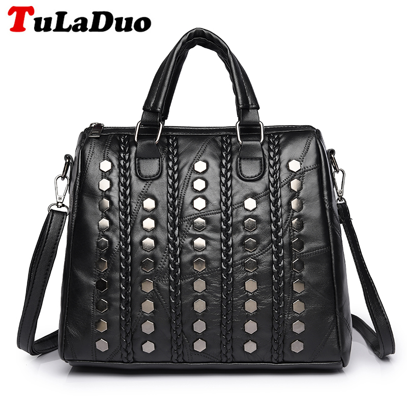 Ladies Genuine Leather Handbags Fashion Rivet Women Tote Bag Black Sheepskin Patchwork Female Shoulder Bag Large bolsa feminina