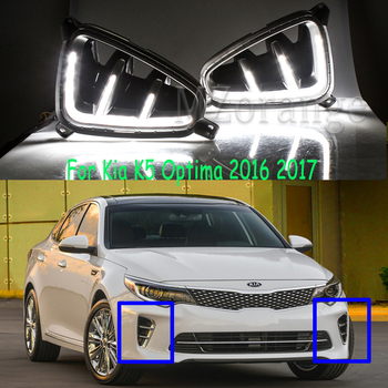 цена на headlights For Kia K5 Optima 2016 2017 LED DRL 2pcs Daytime Running Lights Daylight fog lamps Styling Driving lights fog lights