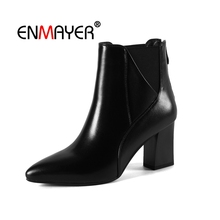 цены ENMAYER Women Ankle Boots Short Boots Women Pointed toe Shoes Woman Thick Heels Lace up Short Plush Med heels Size 34-39 CR1969