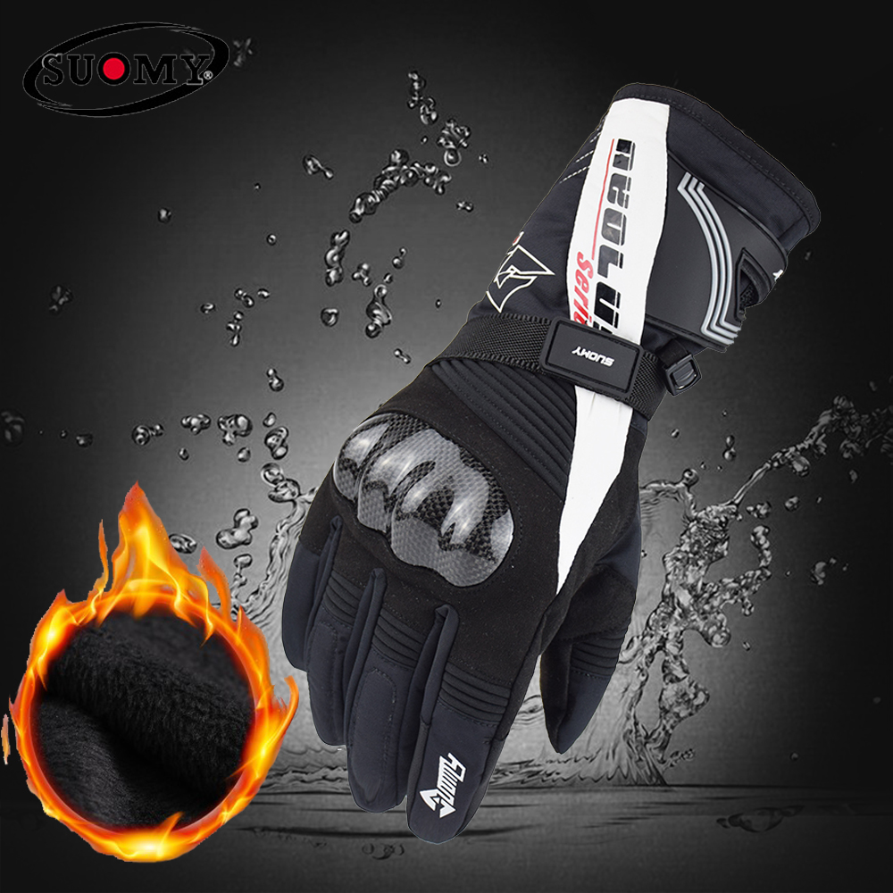 2018 100% Waterproof New Arrival Carbon Fiber Motorcycle Gloves Winter Keep Warm Alpine Stars Guantes Moto Invierno M-XXL(China)