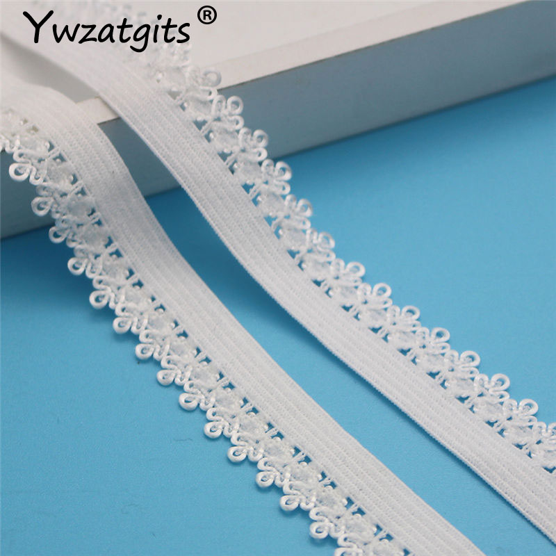 Lace Crafts 5Yards 15mm White Picot Edge Lace Crown Frilly Elastic Band Lace DIY Headband Decoration Sewing Dress Garment Accessories