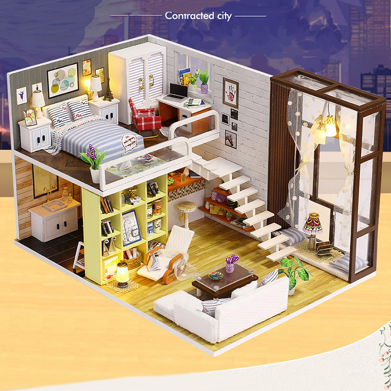 Diy Wooden Doll House Toy Dollhouse Miniature Assemble Kit With Led Furnitures Handcraft Miniature Dollhouse Simple City Model in Doll Houses from Toys Hobbies
