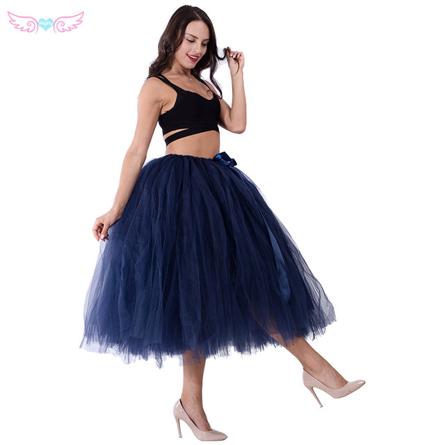 Kephy Mature Navy Blue Tulle Handmade 80cm Long Fashion Women Tutu Skirt Wedding Bridesmaid Skirts Birthday Party