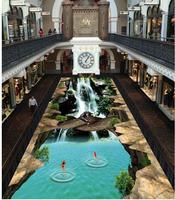 Modern Floor Painting 3d Floor Rock Scenic Waterfall Orangutans PVC Floor Sticker Painting Murals