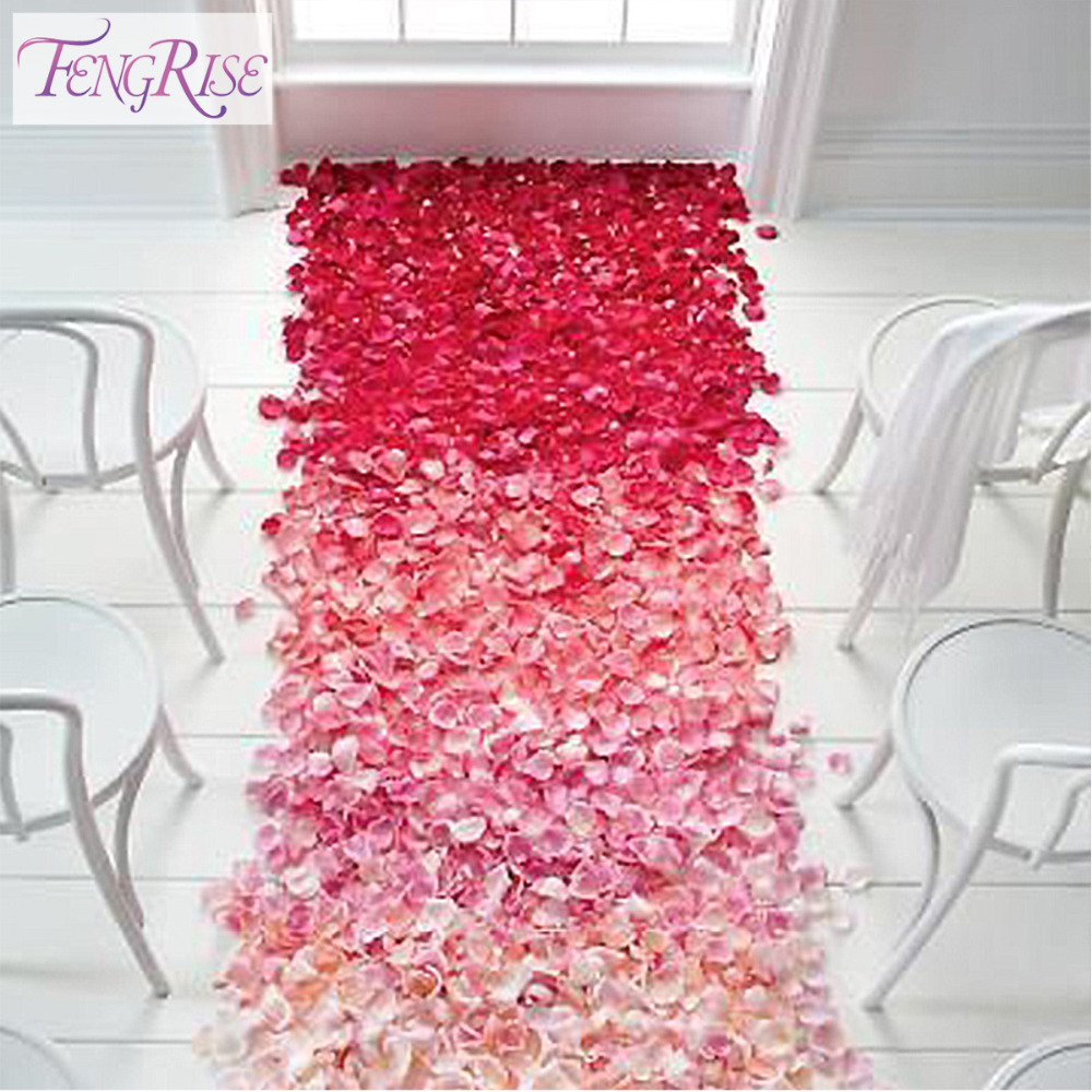 Fengrise wedding events decoration 500pcs silk rose petals for Decoration or rose
