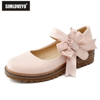 SIMLOVEYO Women Shoes Flats Round toe zapatos de tacon grueso Bowknot Ladies Flat Chunky Sole Retro Shoes B460