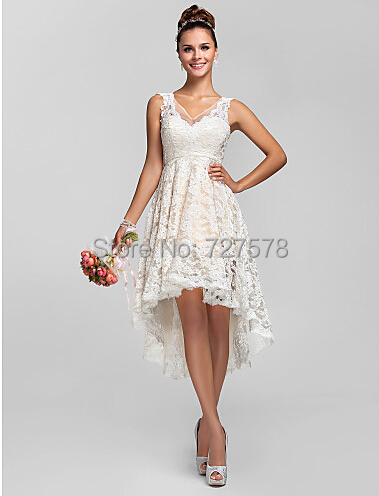 vestido de noiva 2015 Latest V Neck Unique Lace Front Short Long ...