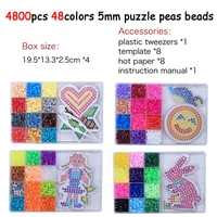 4800pcs/set 48Color Hama Beads 5mm DIY Pegboard Tool Tweezer Puzzle Peas Beads Board Colors Puzzles Toys for Children DOLLRYGA