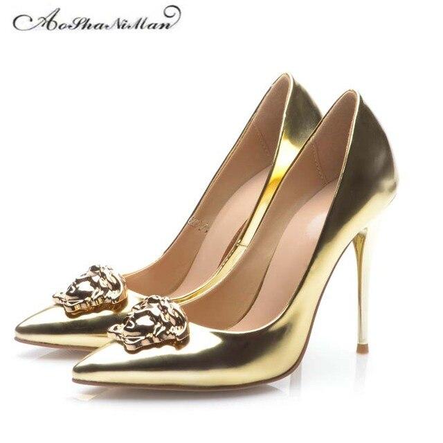 Nupcial do casamento do ouro sapatos de festa Sexy sapatos de Salto Alto  2017 Mais Novo 00eecca18930