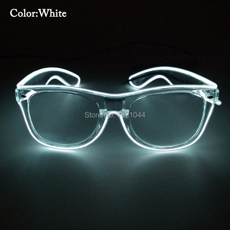 Hot High grade Party Glasses Lighting Color White EL Wire Glasses Clear Frame Flashing Glasses for Party Decoration