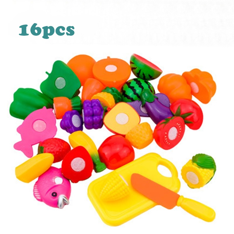 16pcs/ Lot Plastic Food Fruit Vegetable Cutting Kitchen Toys Kids Pretend Play Educational Toys Cook Cosplay for Children