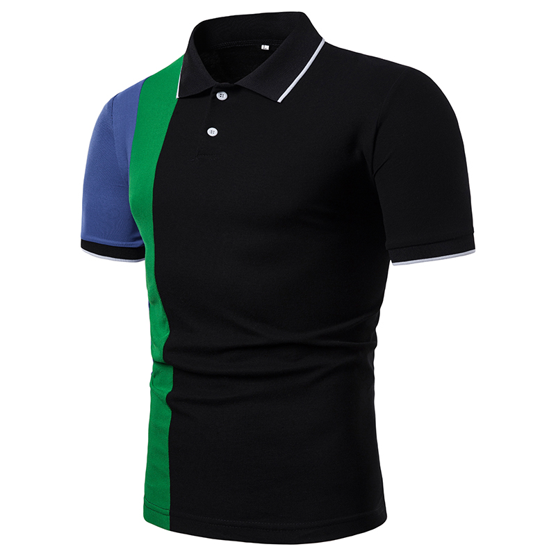 2019 Men's Short-sleeved   POLO   Contrast Color Casual Man Clothing Tee Tops