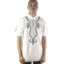 Summer Men`s African Ethnic Tops Lotus Embroidered Male Caftan Shits