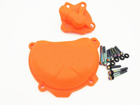 Orange Clutch Cover Protection W Water Pump Protector For KTM 250 EXC F 2014 2015 2016