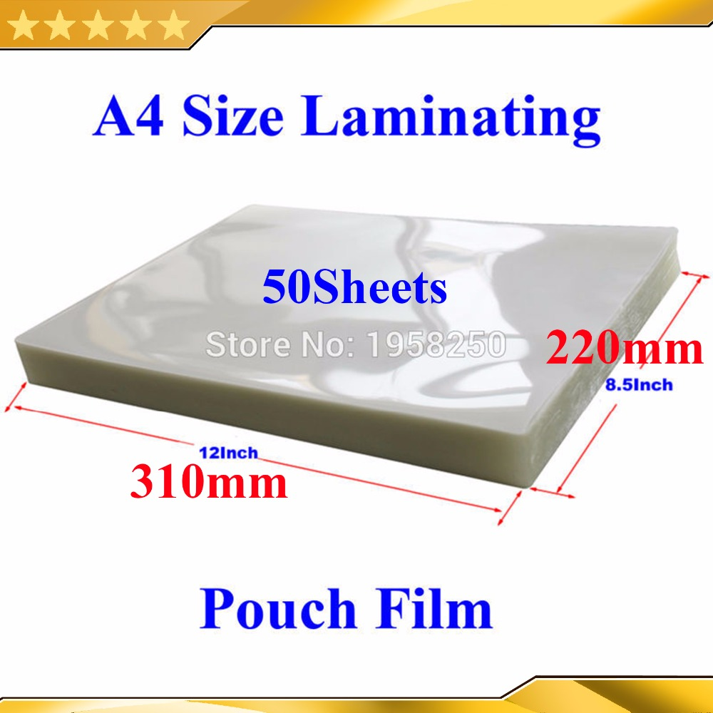 Clear Pouch-Film Laminating For PVC A4 50pcs Glossy 310x220mm 2flap A4-Size 2mil 50mic