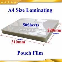 Tamanho a4 50 peças 50mic(2mil), 310x220mm) película laminadora para laminador, filme pvc transparente brilhante para laminador quente com 2 aba