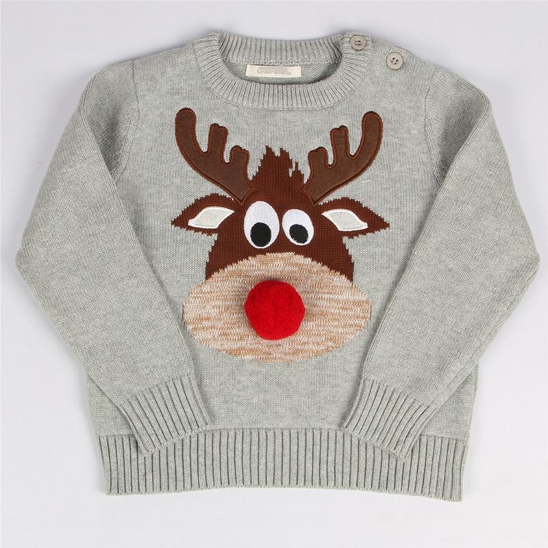 1 5 Years Baby Boy Girl Christmas Sweater Knitted Reindeer Kids