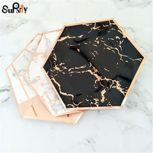 24pcs Black/Marble Paper plates Rose Gold Foil Party Plates Wedding Paper Plates Bridal Shower Decorations Baby Shower Tableware
