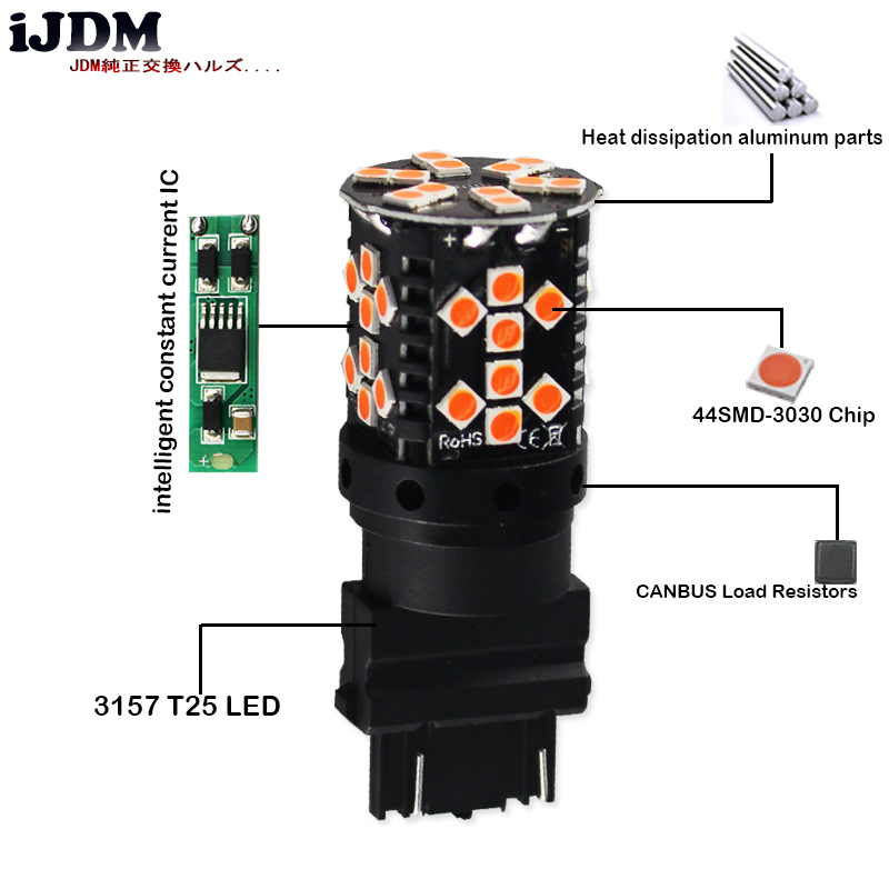 iJDM Canbus 3157 LED No Hyper Flash 21W Amber yellow 27/5W P27/7W T25 LED Bulbs For Turn Signal Lights, Daytime Running Lights