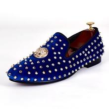 Harpelunde Мужские модельные туфли синие бархатные Лоферы шипы ручной плоской подошве с пряжкой размеры 7–14