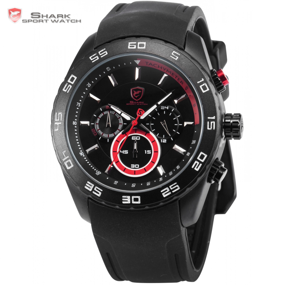 Spinner Shark Sport Watch Mens Boys Clock Black Silicone Strap Chronograph Water Resistant Red Analog Quartz Wristwatch / SH256 1