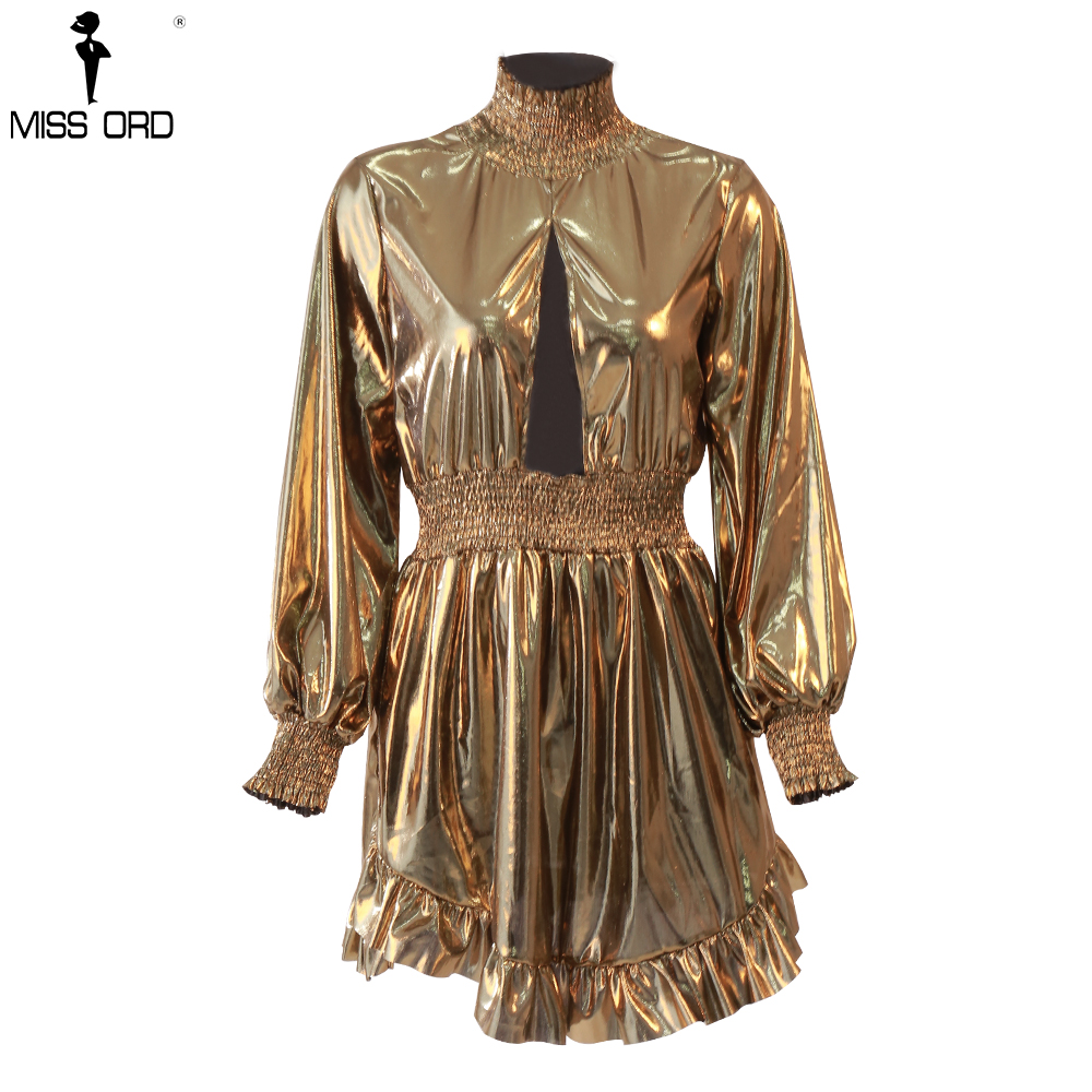 Missord 2020 Sexy High Neck Long Sleeve Hollow Out Dresses Female Irregular Sexy Solid Color Mini Party Dress MQ18761
