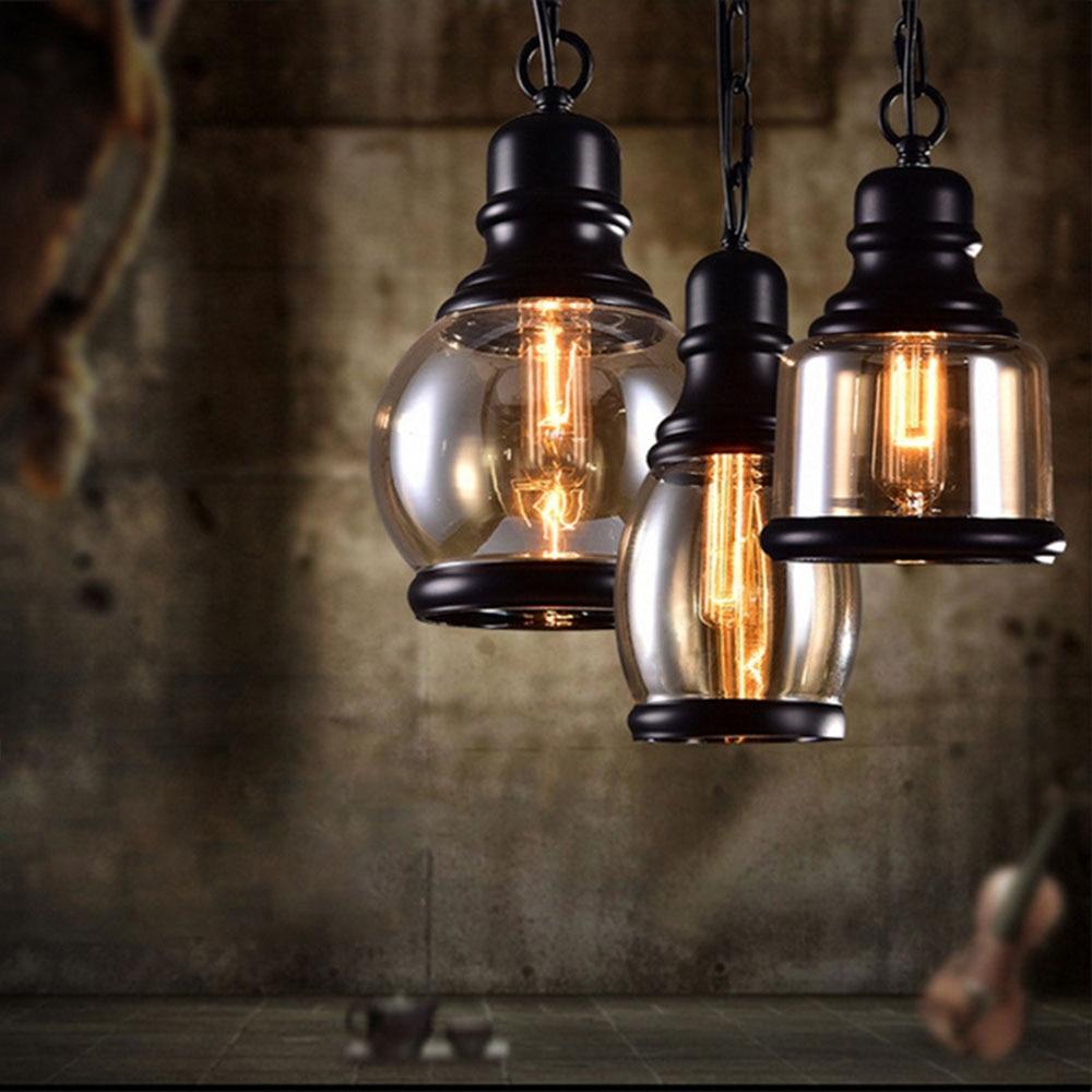 2016 nieuwe retro hanglampen glas lampenkap loft vintage hanger lampen e27 110 v 220 v voor