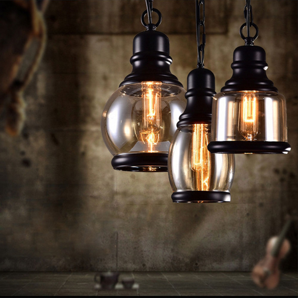 Industrial Decor Retro Pendant Lights Glass Lamp Loft Vintage HangLamp E27 110V 220V Dinning Room Home Bar lustre pendenteIndustrial Decor Retro Pendant Lights Glass Lamp Loft Vintage HangLamp E27 110V 220V Dinning Room Home Bar lustre pendente