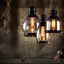 Промышленный Декор Ретро подвесные светильники Стекло светильник Лофт Винтаж HangLamp E27 110 V 220 V столовая домашний бар блеск pendente