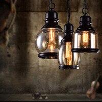 Industrial Decor Retro Pendant Lights Glass Lamp Loft Vintage HangLamp E27 110V 220V Dinning Room Home Bar lustre pendente