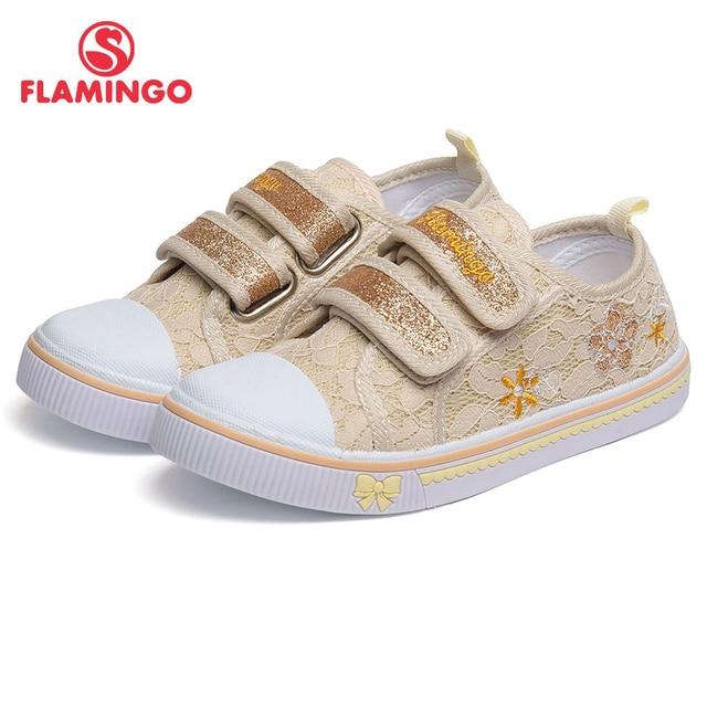 Фламинго дышащий крючок и петля ортопедическая стелька-ступинатор открытый размер 27-32 повседневная детская парусиновая обувь для девочек 81K-FY-0679