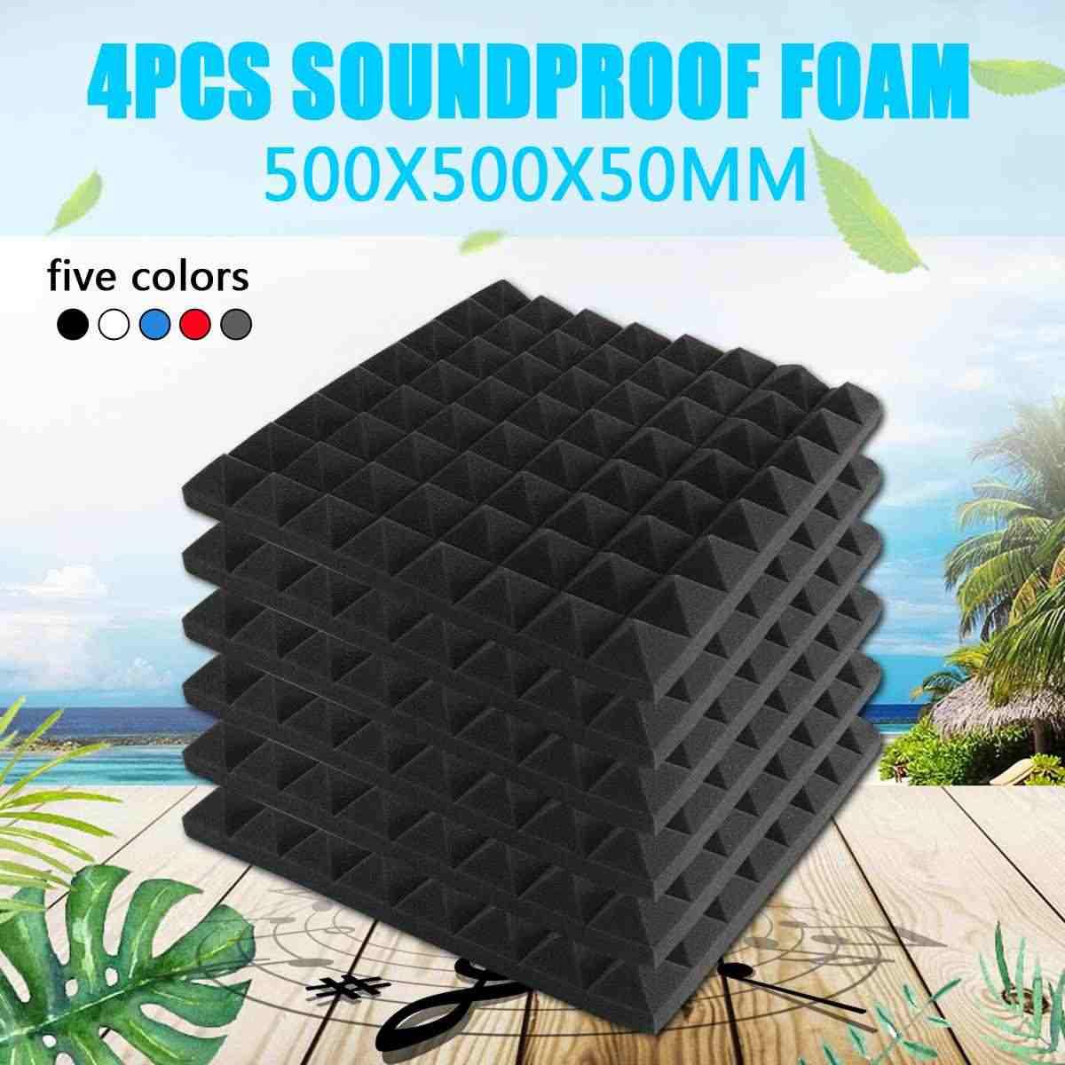 4pcs 500X500X50mm 방음 폼 어쿠스틱 폼 사운드 트리트먼트 스튜디오 룸 흡수 타일 폴리 우레탄 폼