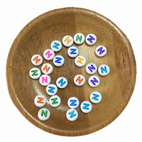 Single Initial N Priting White With Colorful Acrylic Letter Beads Plastic Coin Round Alphabet Jewelry Beads