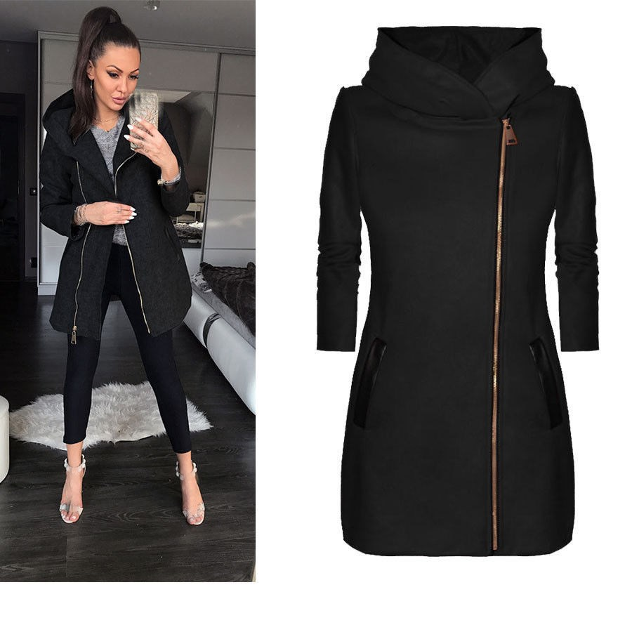 Autumn Women Warm Long Sleeve Casual   Jacket   Outwear Pocket Zipper Hooded   Basic     Jacket