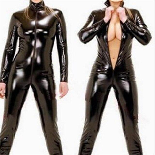 Lencería Sexy de látex negro para mujer, Catsuit erótico de piel sintética, mono de PVC con cremallera frontal y entrepierna abierta, ropa de discoteca de baile en barra