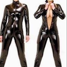 סקסי הלבשה תחתונה לטקס שחור נקבה אירוטי פו עור בגד גוף PVC בגד גוף קדמי רוכסן פתוח מפשעה מוט ריקוד Clubwear סרבל