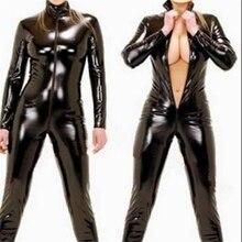 セクシーなランジェリーラテックス黒女性エロフェイクハロウィンレザーキャットスーツ Pvc ボディスーツフロントジッパーオープン股ポールダンスクラブウェアジャンプスーツ