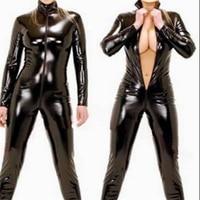 Sexy Lingerie Latex Black Female Erotic Faux Leather Catsuit PVC Bodysuit Front Zipper Open Crotch Pole