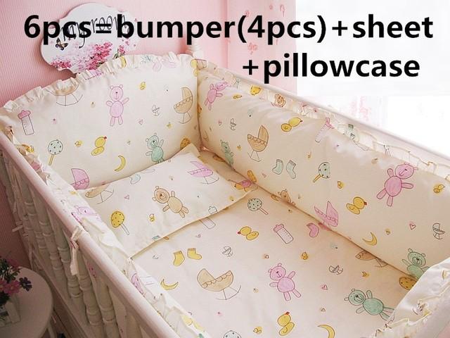 Promoción! 6 unids cuna bebé juego de cama cunas hoja bebé parachoques cama Set ( bumpers + hojas + almohada cubre )