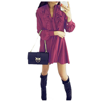 TFGS Spring Autumn Women Dresses Casual Long Sleeve V Neck Ruffles Short Dress Lace Up Women