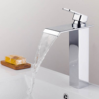 Bathroom Basin Faucet Wholesale And Retail Chrome Brass Waterfall Mixer Tap Square Base Water Hot and Cold Sink Tap Torneira