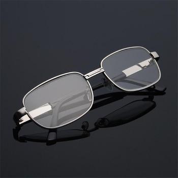 ef2312e017 Vidrio de cristal gafas de lectura de los hombres y las mujeres de Metal  cuadrado marco hipermetropía la presbicia lector gafas + 1,0 + 1,5 + 2,0 +  2,5 A + ...