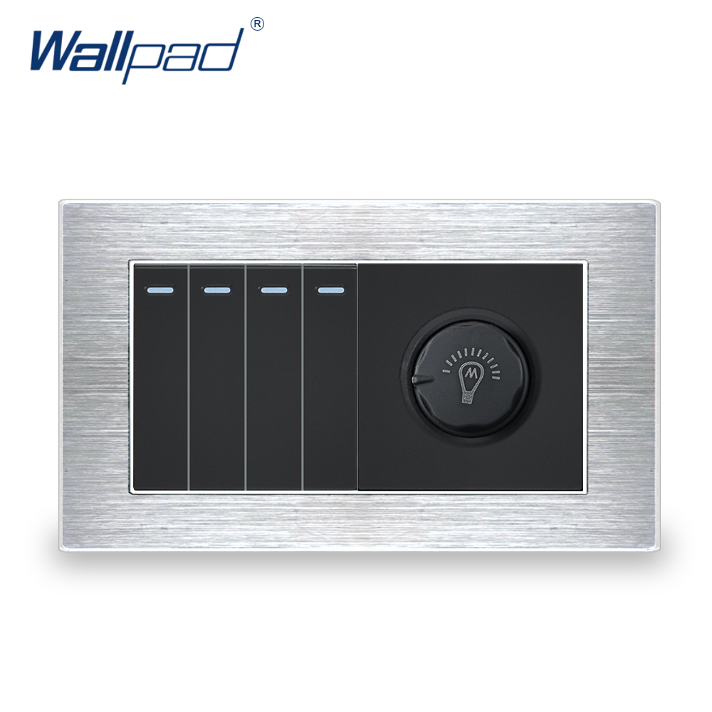 4 Gang 2 Way Switch With Dimmer Wallpad Luxury Wall Light Switch Satin Metal Panel With Silver Border 146*86mm цена и фото