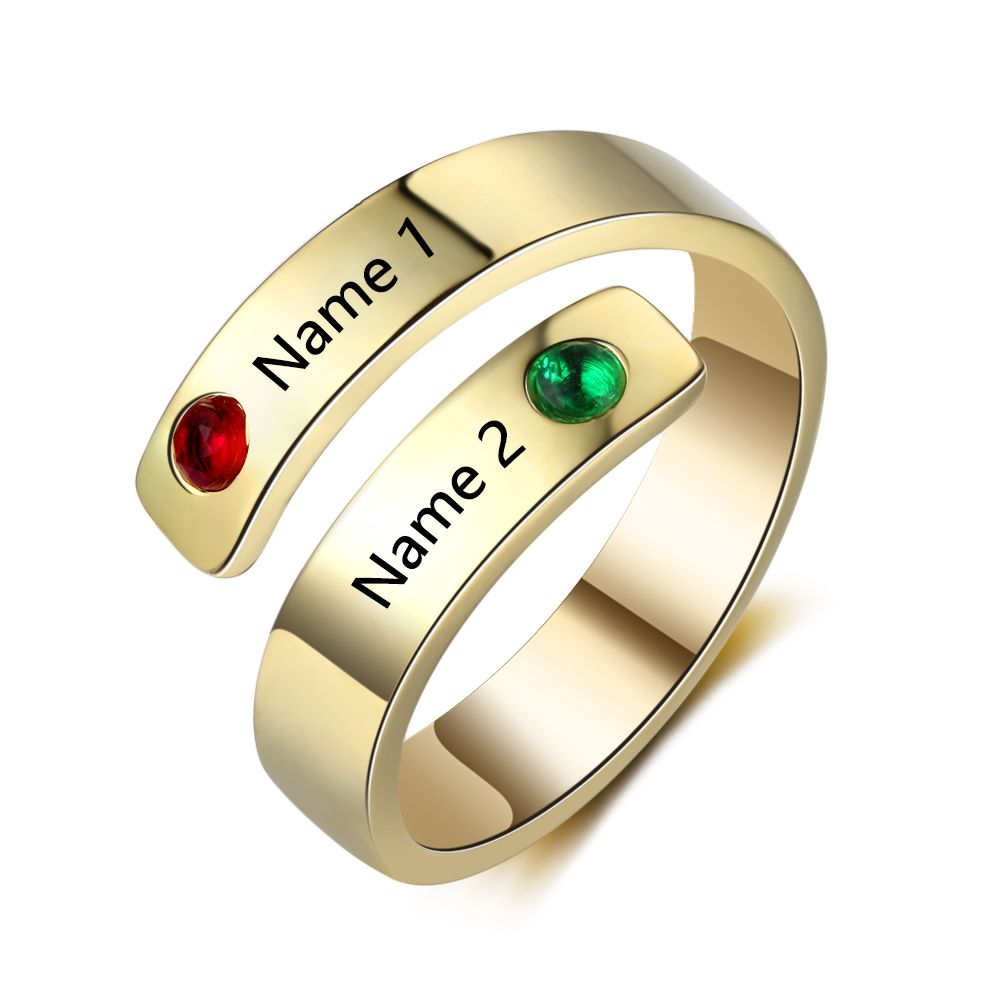 Personalized-Ring Jewelry Birthstones Engrave-Name Wedding-Gift Stainless-Steel Women