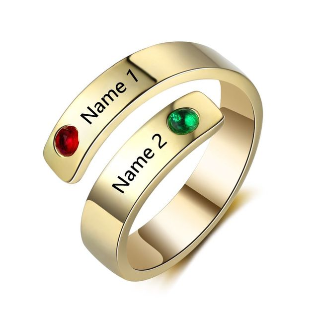 Personalized Birthstone Rings For Women 3 Colors Name Engraved Charm DIY Jewelry For Wedding Gift For Girls (RI103501)