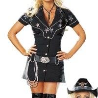 Free Shipping Ladies Sexy Gunslingin Cowgirl Wild West Sheriff Fashion Costume Party Fancy Dress