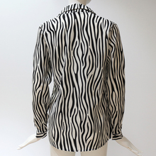 Long Sleeve Turn Down Collar Chiffon Blouse